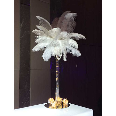 feather centrepieces for hire