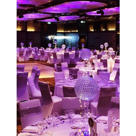 Corporate Crystal Orb centrepiece hq for hire