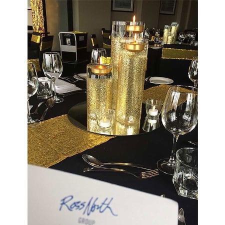 Gold Glitter centrepiece hq for hire