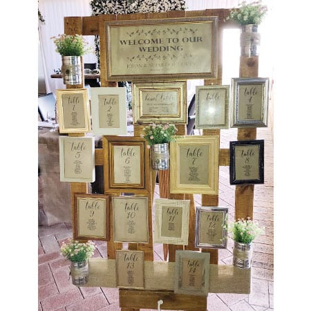 Rustic Seating Plan centrepiece hq for hire