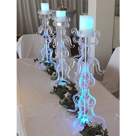 Acrylic candelabra centrepieces for hire