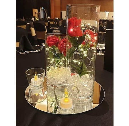 rose flower centrepieces for hire
