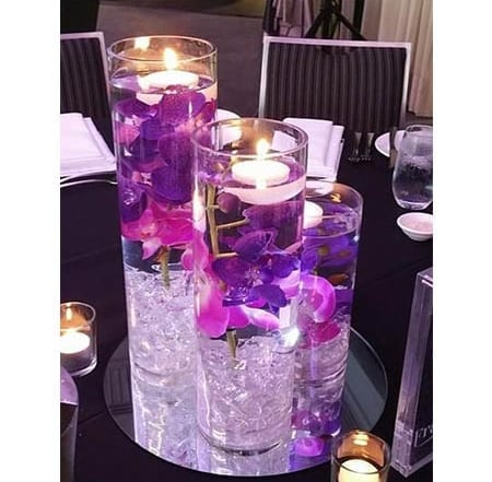 submerged flower centrepieces for hire