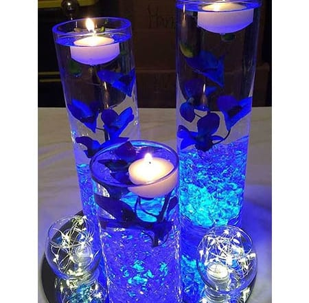 submerged galaxy orchid flower centrepieces for hire