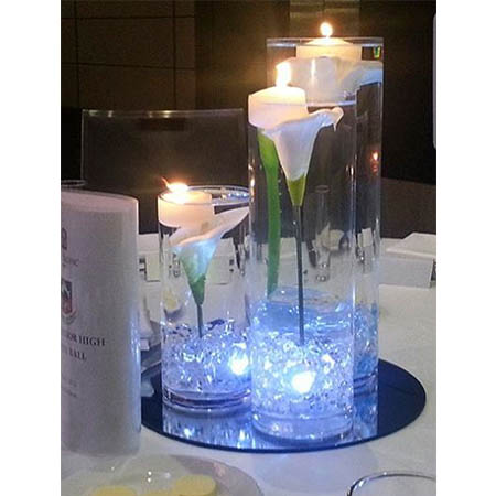 submerged lily flower centrepieces for hire